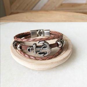 Unisex leather anchor bracelet